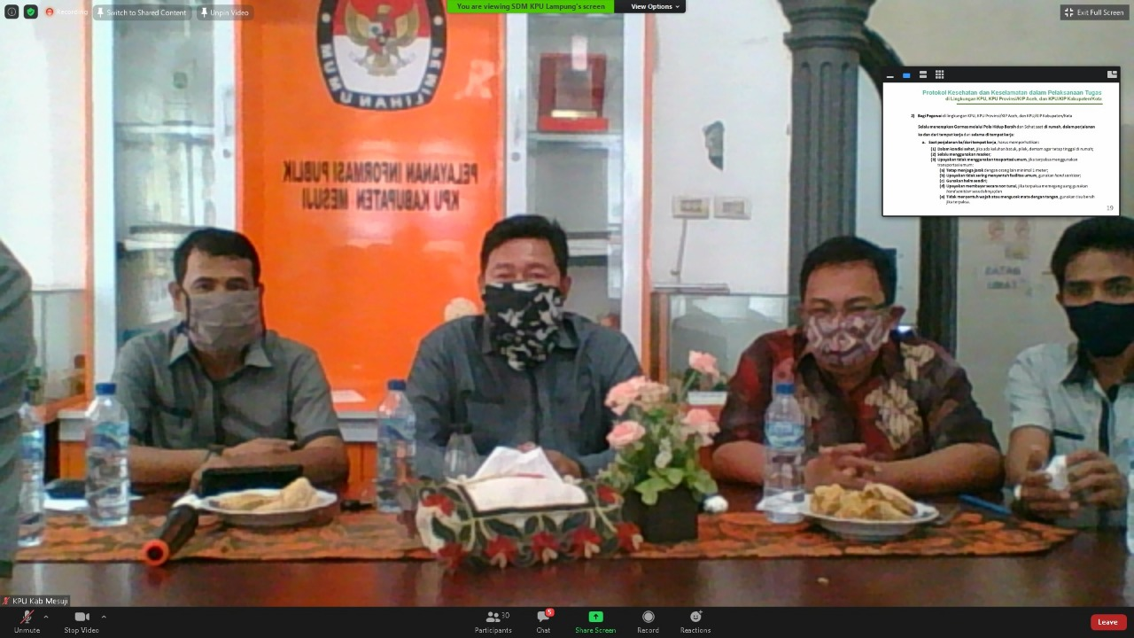 Sosialisasi New Normal Melalui Meeting Zoom Bersama KPU RI